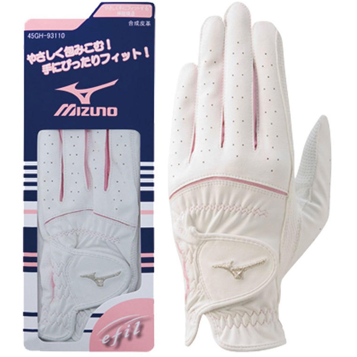 ミズノ MIZUNO efil グローブ 45GH93110 5枚セット 18cm 左手着用(右利き用) ホワイト/ピンク レディス