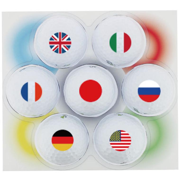 ホクシン交易 世界の国旗ゴルフボール7個セット