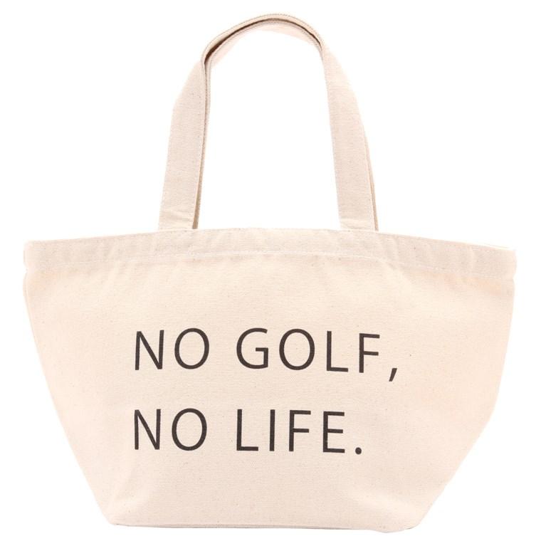 Louie's おなまえトートバッグ S GOLF 裏面:No Golf,No Life.【オンネーム文字色:白抜き/アルファベットのみ指定可能】 レディース ゴルフ