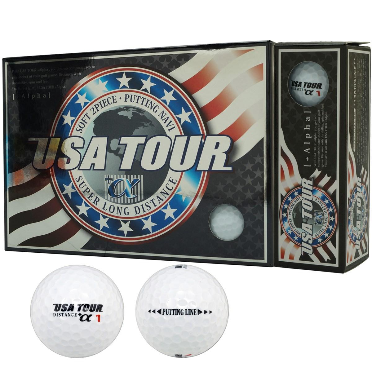 朝日ゴルフ用品 USA TOUR USA ツアーディスタンス+α カラーボール 1ダース(12個入り) ホワイト