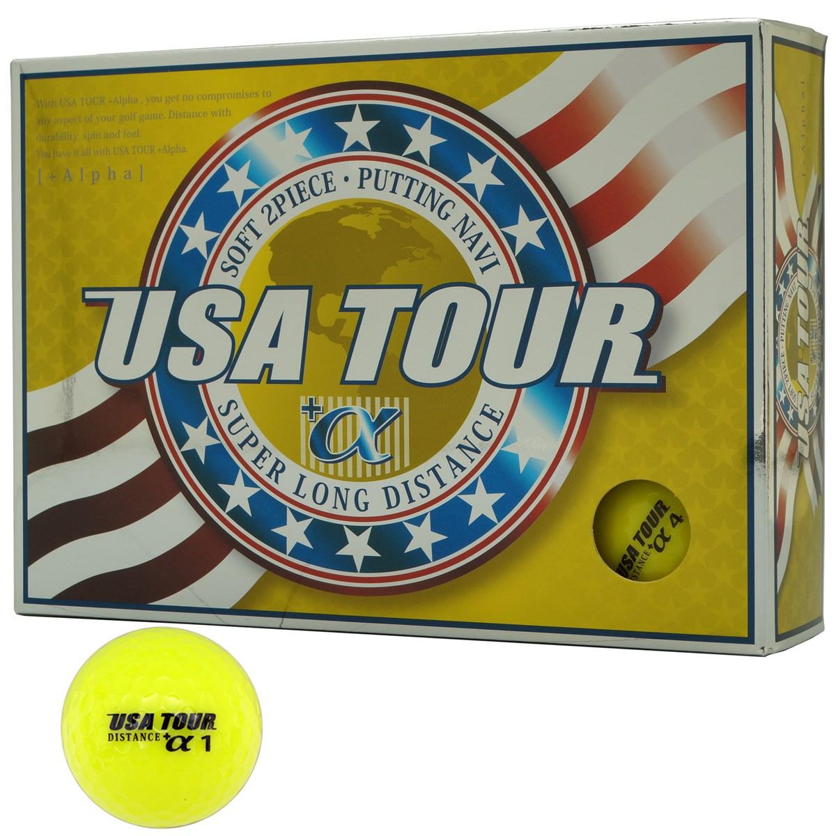 朝日ゴルフ用品 USA TOUR USA ツアーディスタンス+α カラーボール 1ダース(12個入り) イエロー