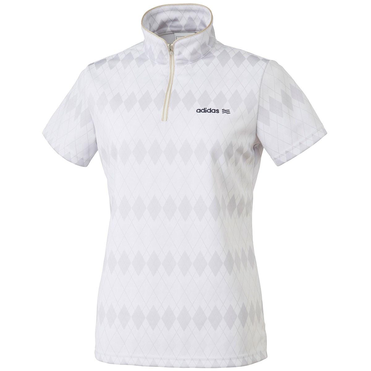 アディダス Adidas アーガイルジャカード ジップモック半袖シャツ S ホワイト N67840 レディス