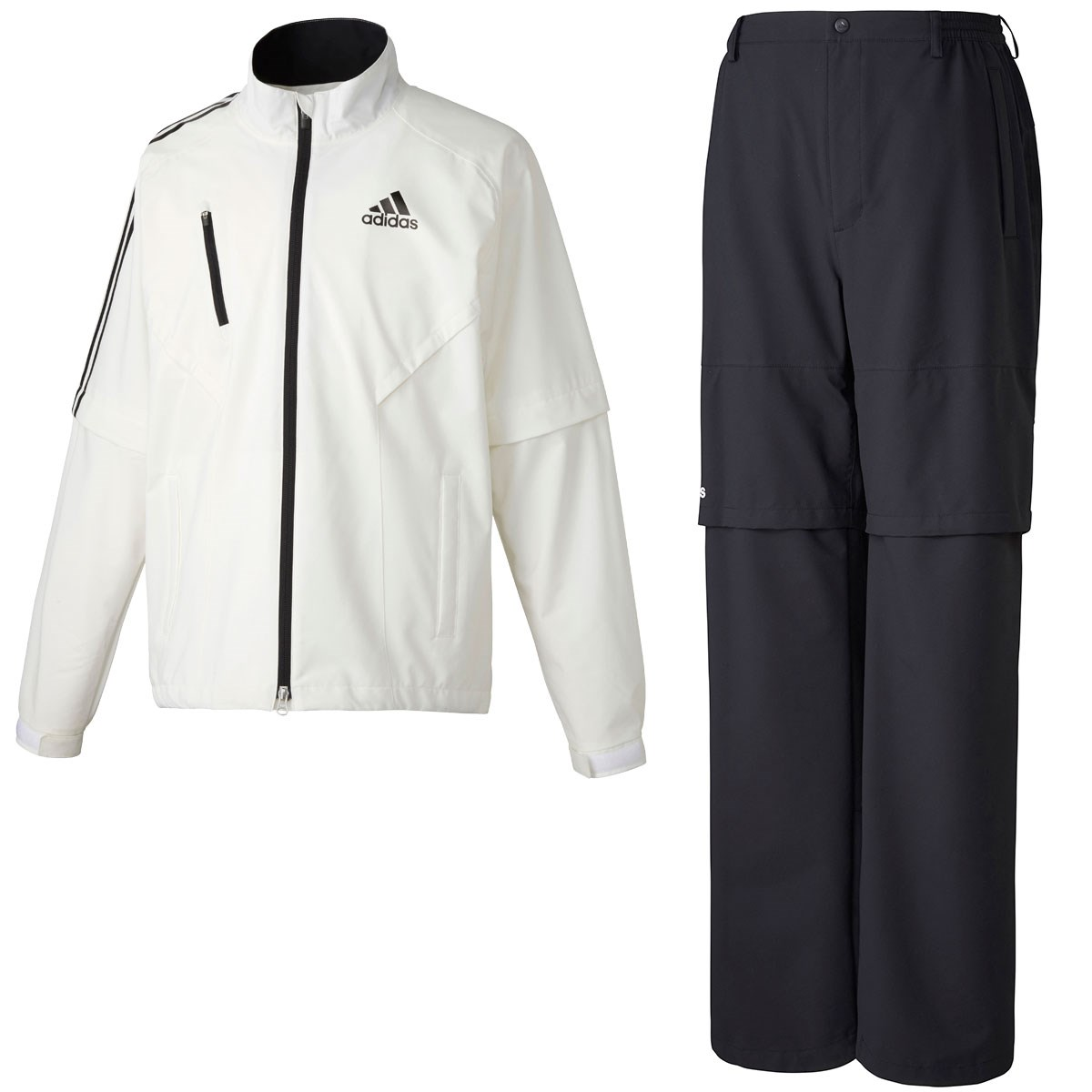 アディダス Adidas CLIMAPROOF ストレッチレインウェア上下セット O ホワイト/ブラック N67731