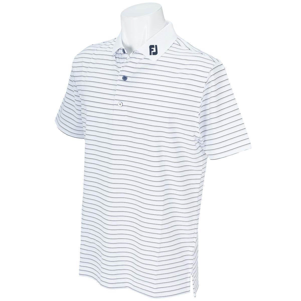 ストレッチ ピンストライプ ライル半袖ポロシャツ