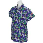 マスターバニーエディション ミニリップリーフ柄プリント半袖ポロシャツ