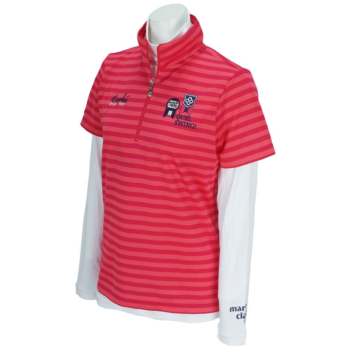 マリクレール marie claire 長袖ハイネックアンダーシャツ付き 半袖ハーフジップシャツ M ピンク レディス