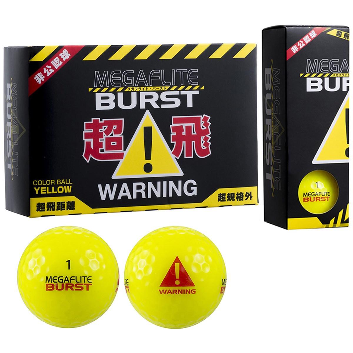 朝日ゴルフ用品 MEGAFLITE BURST 飛び過ぎ注意ボール 半ダース 半ダース(6個入り) イエロー 【非公認球】