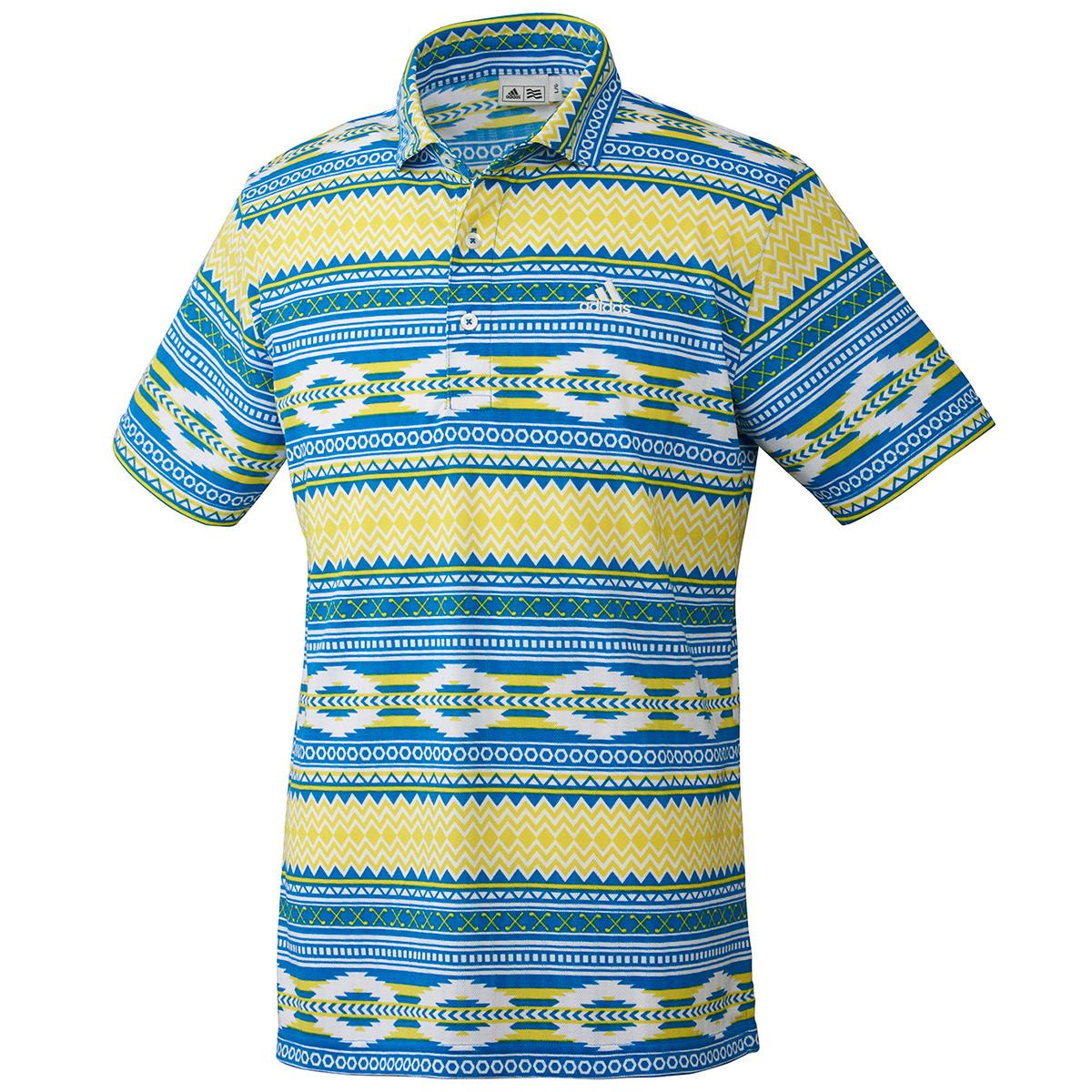 サッカープリント 半袖ワイドカラーポロシャツ