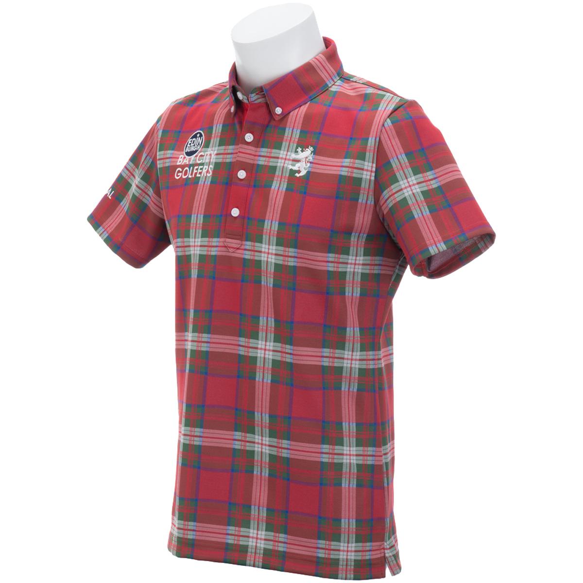 チェック ボタンダウン半袖ポロシャツ