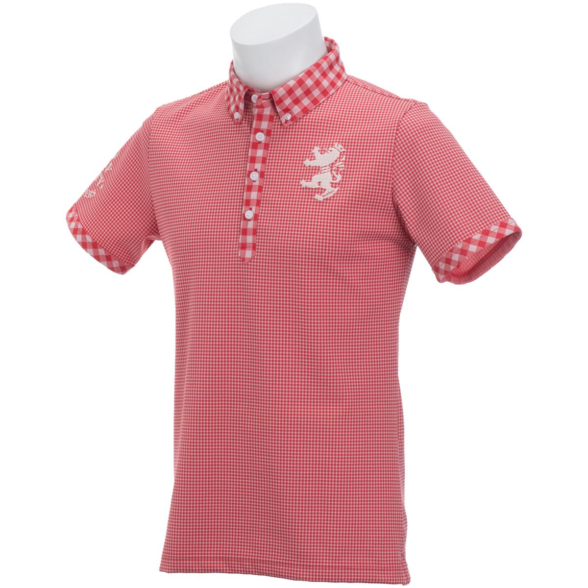 ギンガム ボタンダウン半袖ポロシャツ