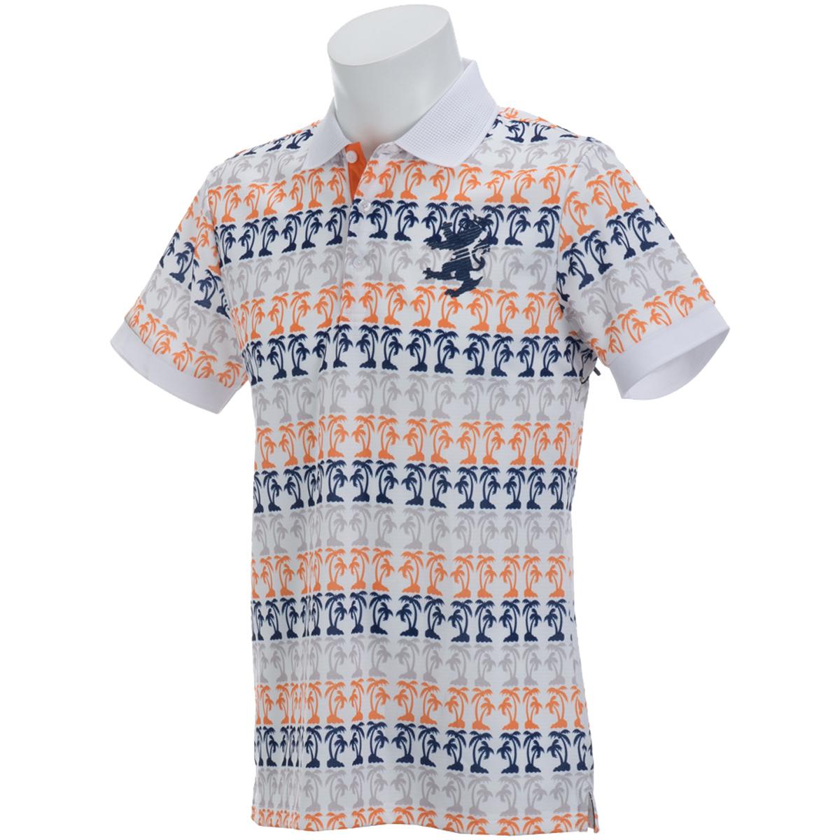 ヤシの木ボーダー 半袖ポロシャツ
