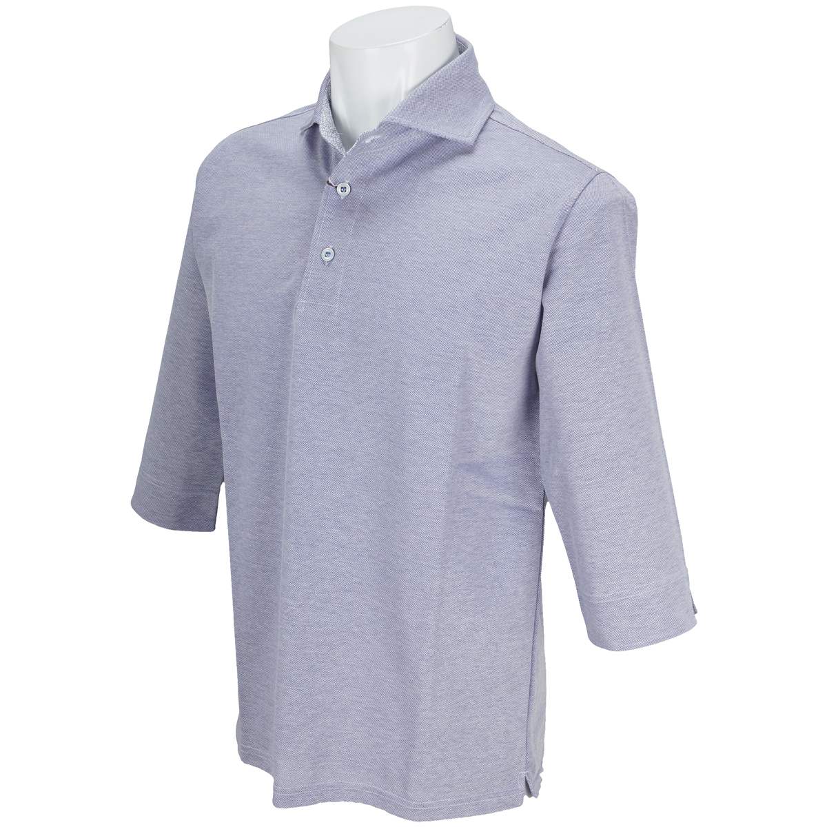 鹿の子七分袖カッタウェイポロシャツ