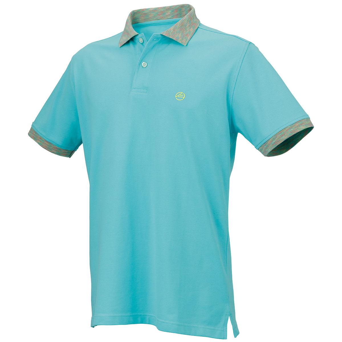 ストレッチ鹿の子 メランジカラー半袖ポロシャツ