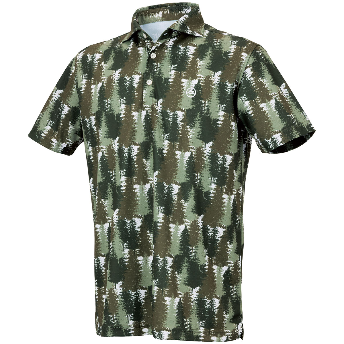 フォレストカモ柄 ホリゾンタルカラー半袖ポロシャツ