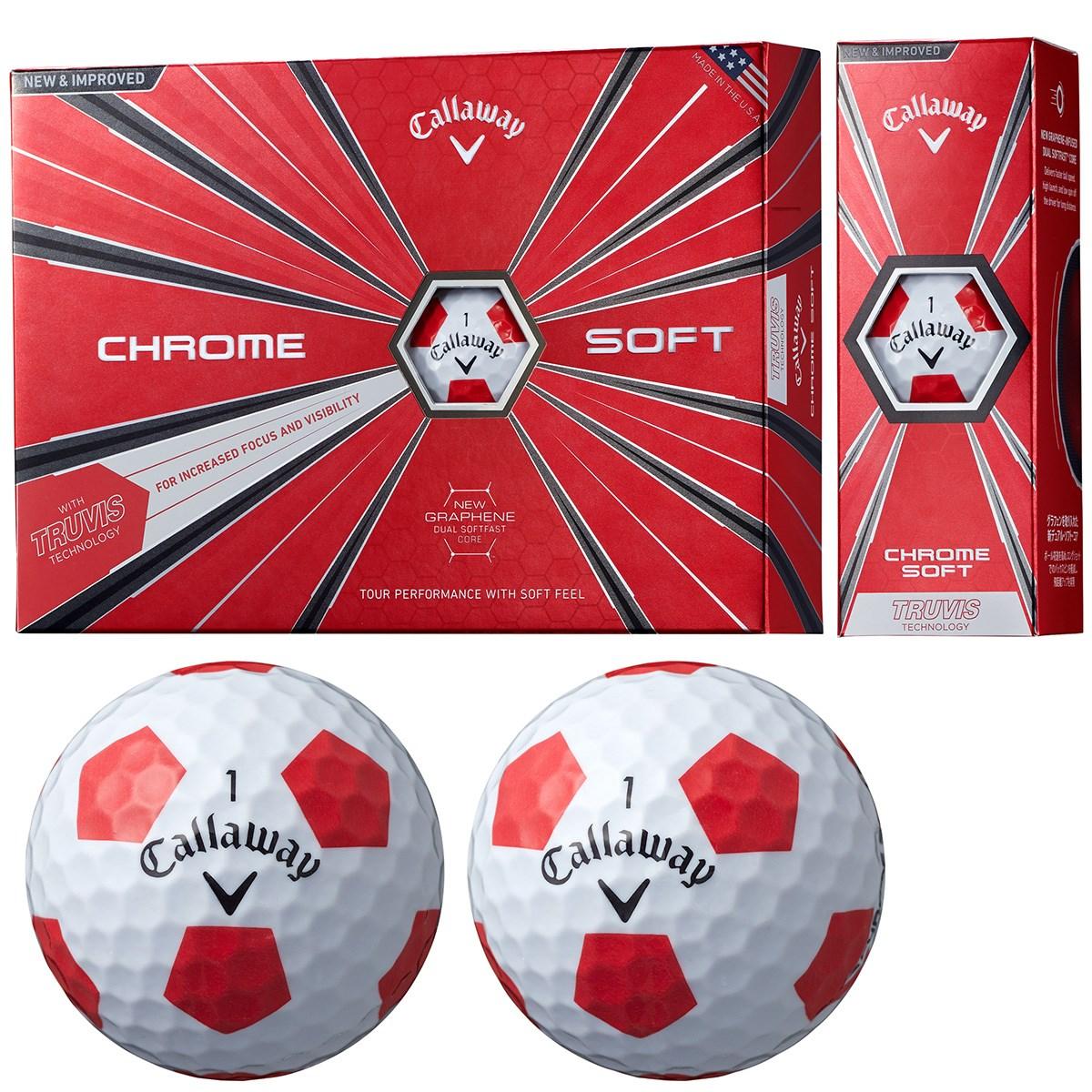 キャロウェイゴルフ CHROM SOFT CHROME SOFT TRUVIS ボール 1ダース(12個入り) ホワイト/レッド