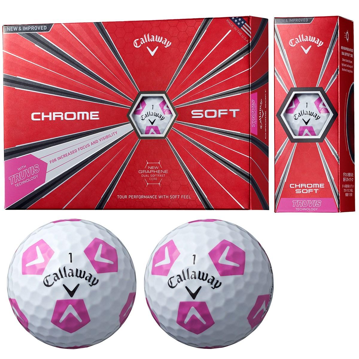 キャロウェイゴルフ CHROM SOFT CHROME SOFT TRUVIS ボール 1ダース(12個入り) ホワイト/ピンク