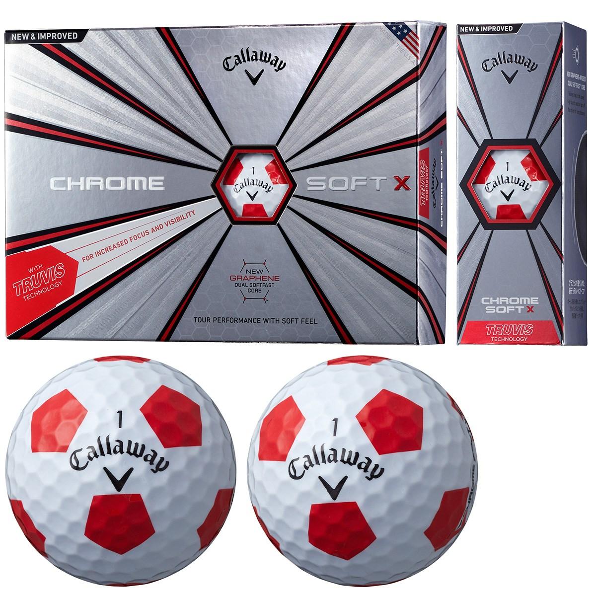 キャロウェイゴルフ CHROM SOFT CHROME SOFT X TRUVIS ボール 1ダース(12個入り) ホワイト/レッド