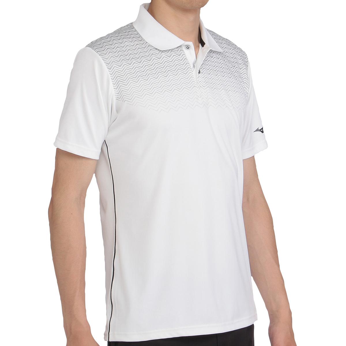 ソーラーカットプリント半袖ポロシャツ
