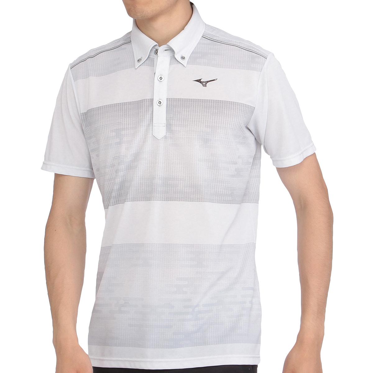 ソーラーカット半袖プリント柄ボタンダウンポロシャツ