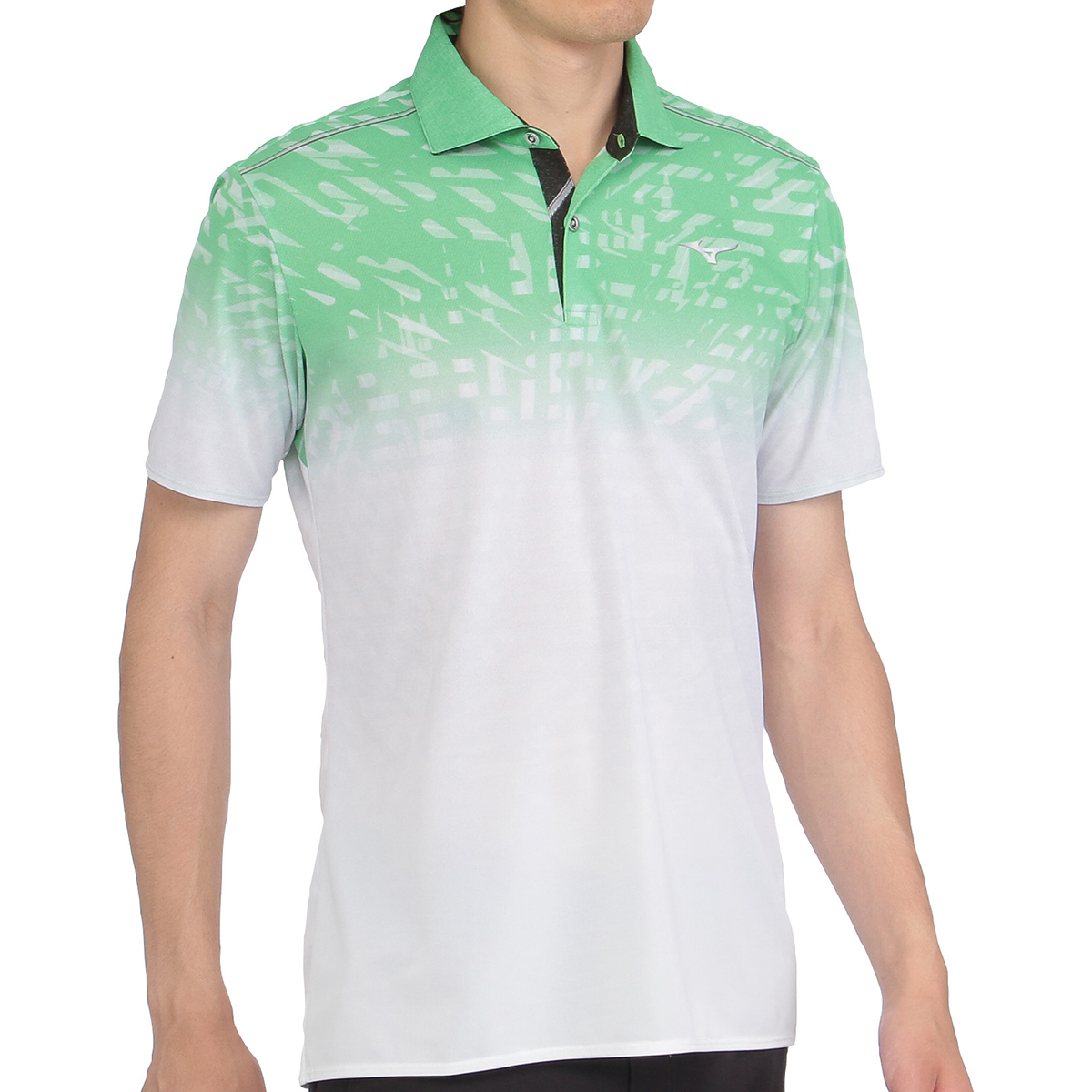 ソーラーカット半袖プリント柄ポロシャツ