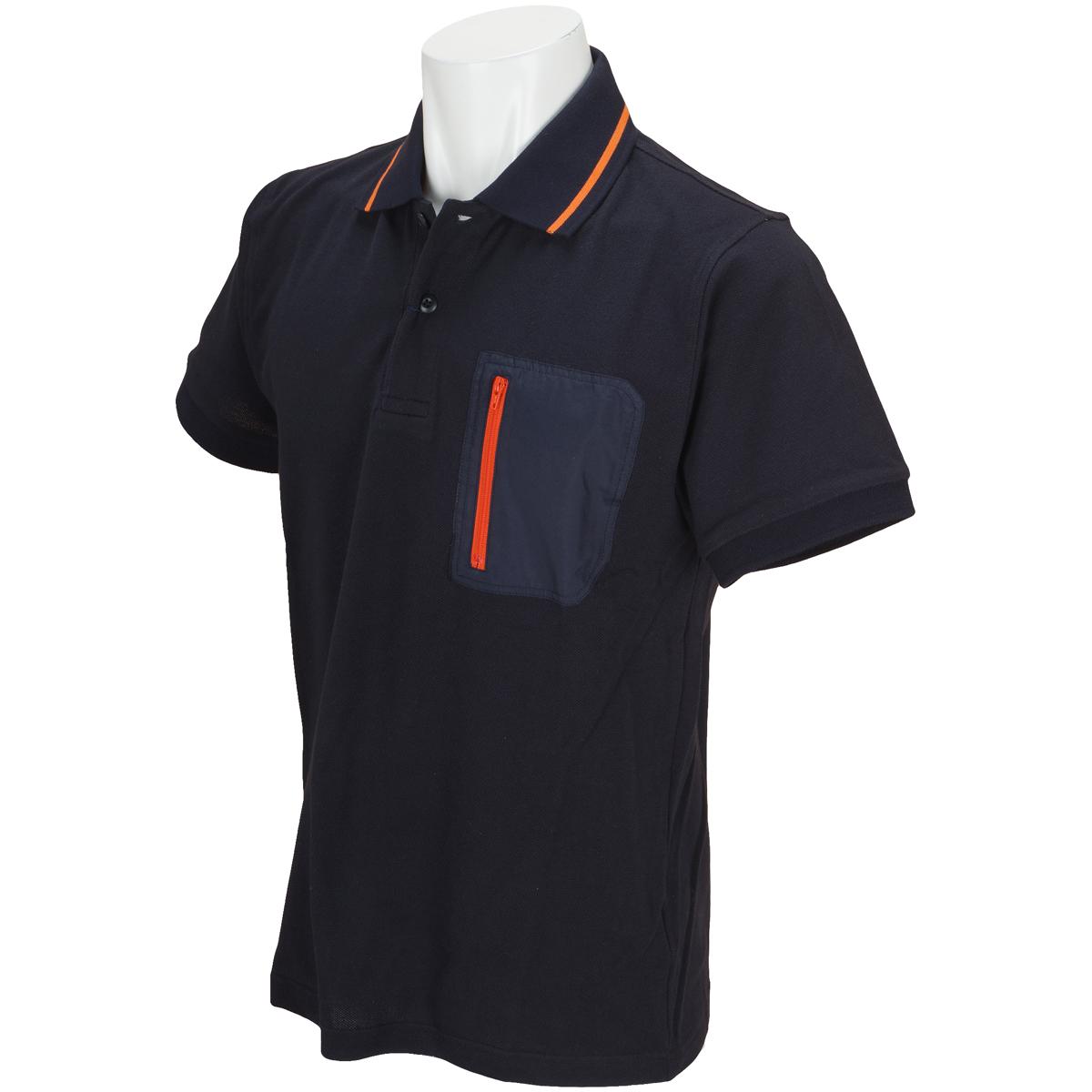 タフタ切替えライン入り半袖ポロシャツ
