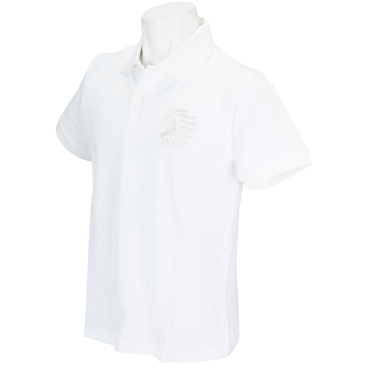 ライオン刺繍 半袖ポロシャツ