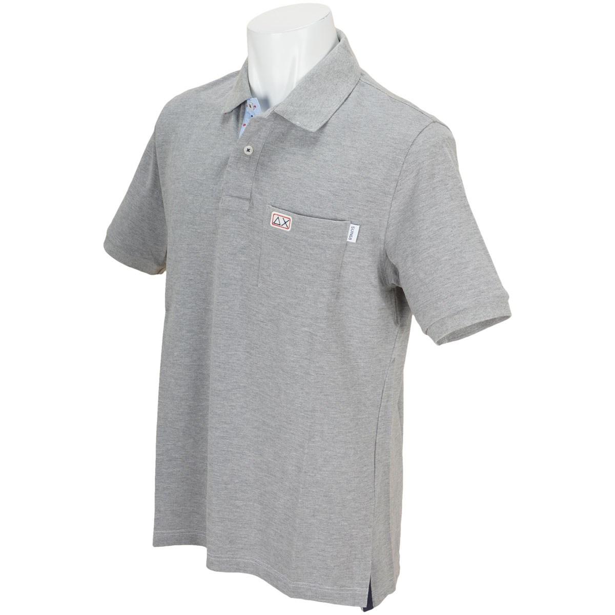 サンシックスティエイト 衿裏小紋柄半袖ポロシャツ