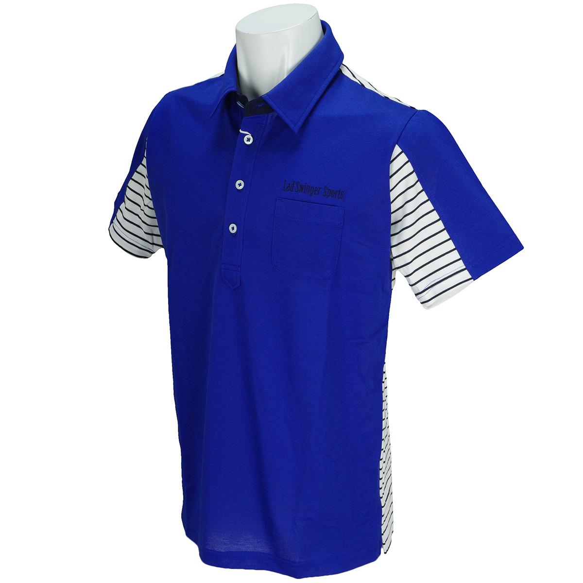 鹿の子ボーダー切替半袖ポロシャツ
