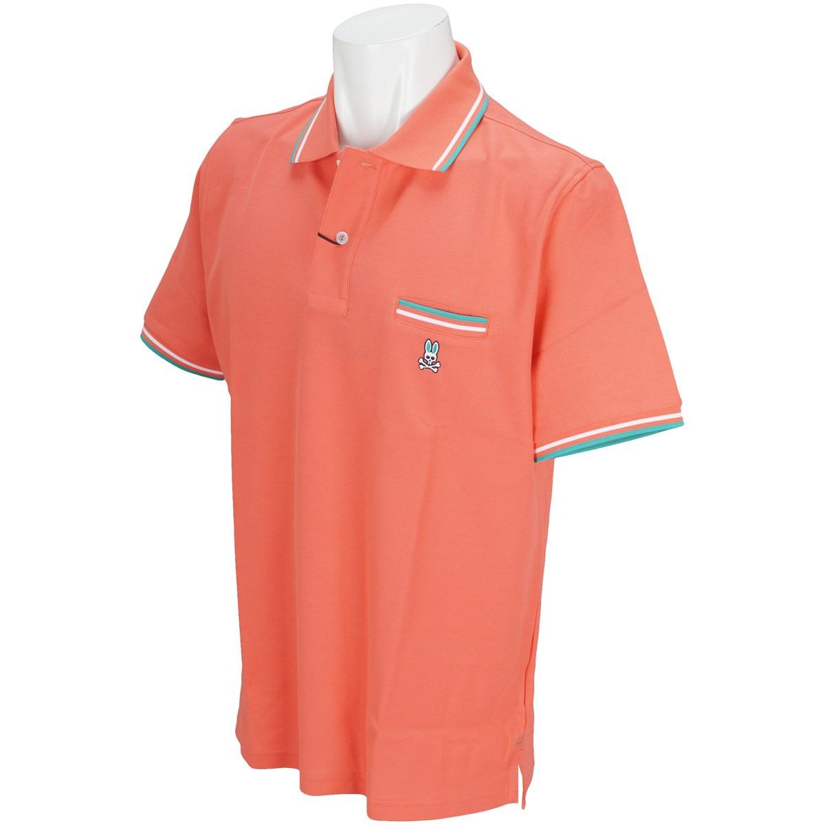 サイコバニー PSYCHO BUNNY ライン入りポケット半袖ポロシャツ M オレンジ