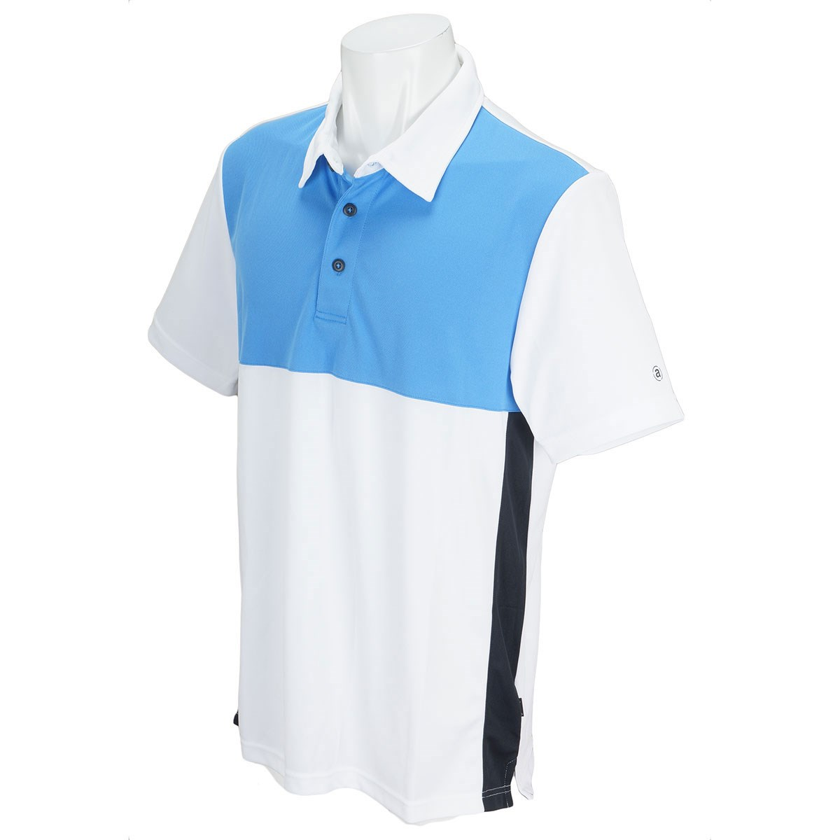 アバカス ABACUS 半袖ポロシャツ M ホワイト/スカイブルー