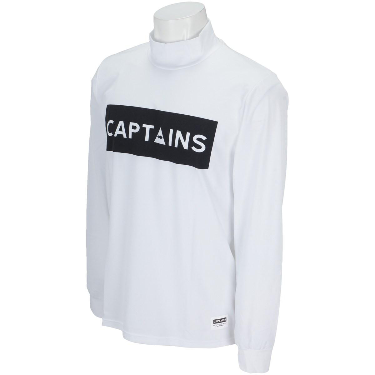 キャプテンズヘルム CAPTAINS HELM ロゴ モックネック長袖Tシャツ M ホワイト