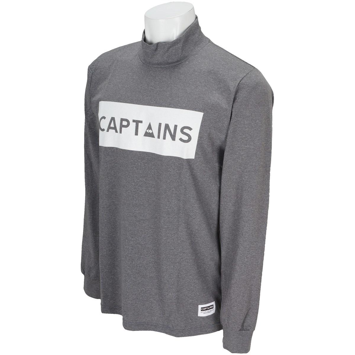 キャプテンズヘルム CAPTAINS HELM ロゴ モックネック長袖Tシャツ M ブラック