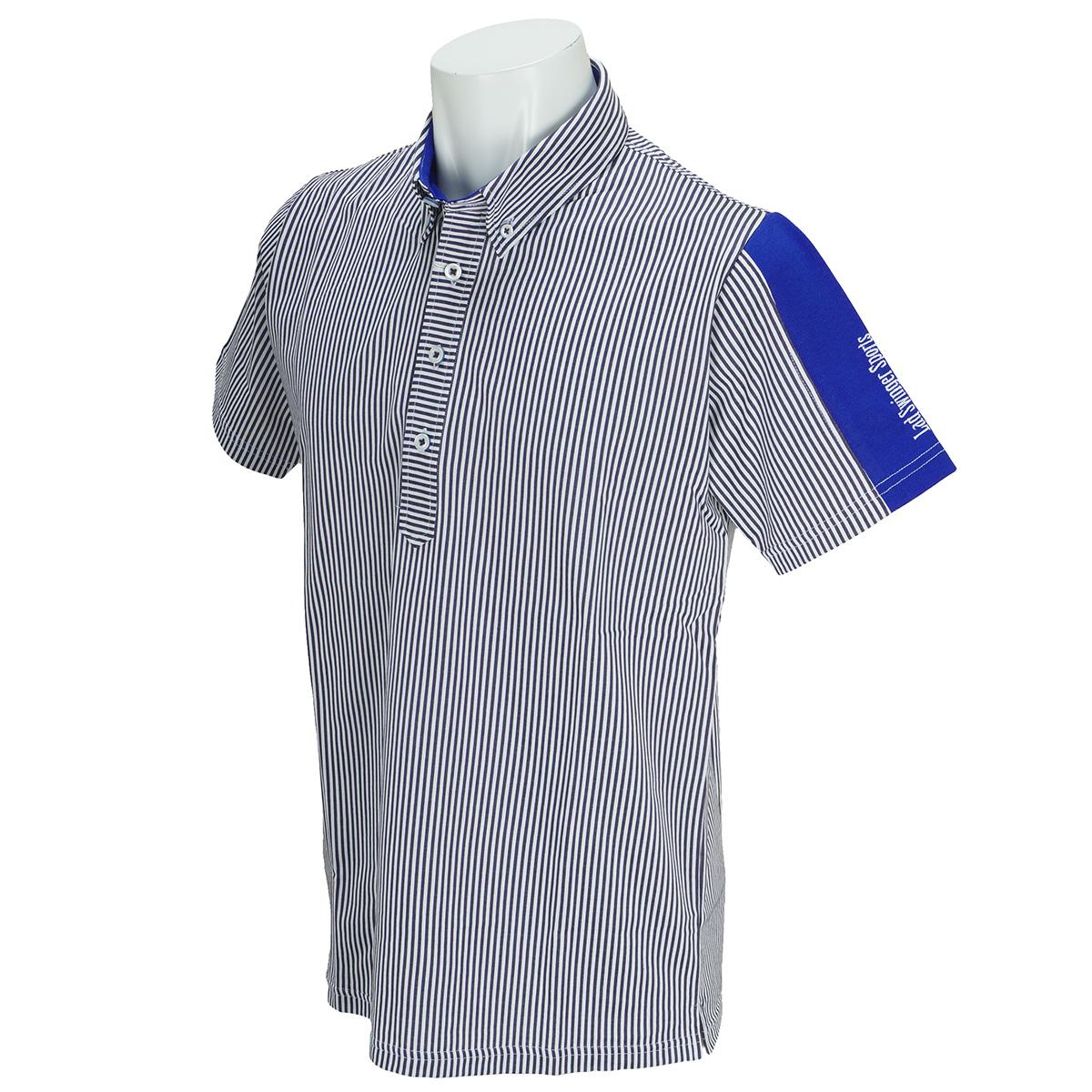 ストライプ柄半袖ボタンダウンポロシャツ