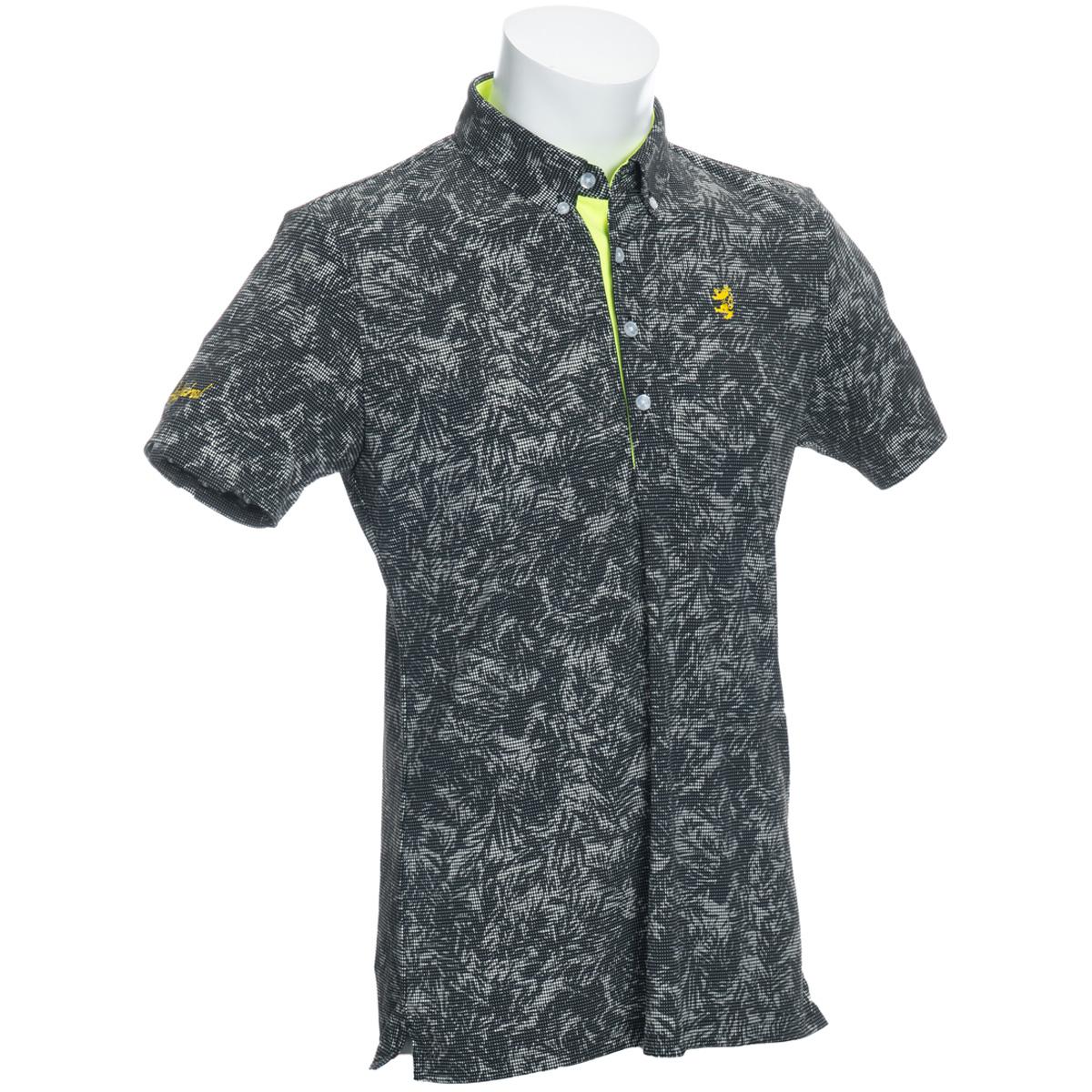 デジタルリーフ ボタンダウン半袖ポロシャツ