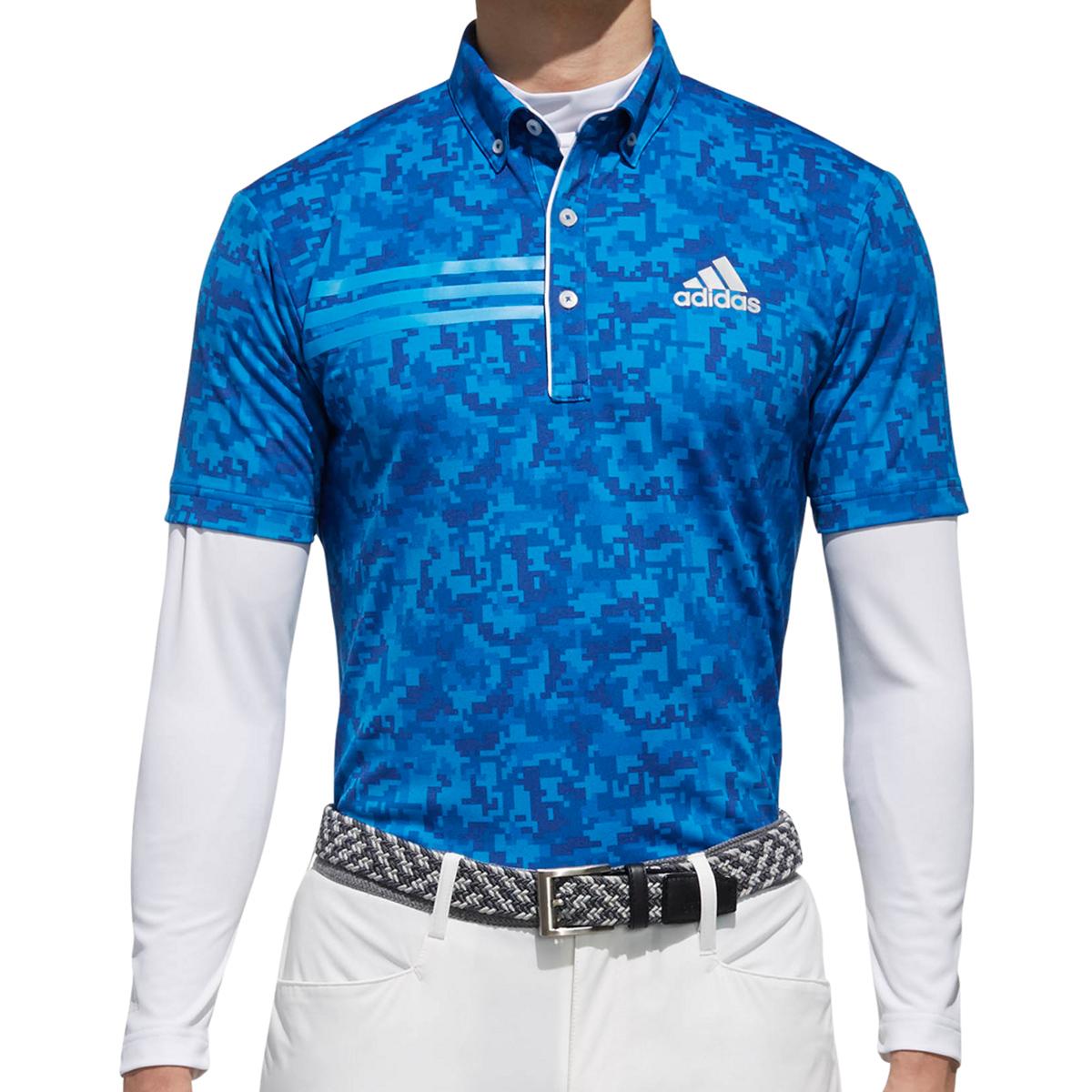 CP ジオメトリック レイヤード半袖ボタンダウンポロシャツ