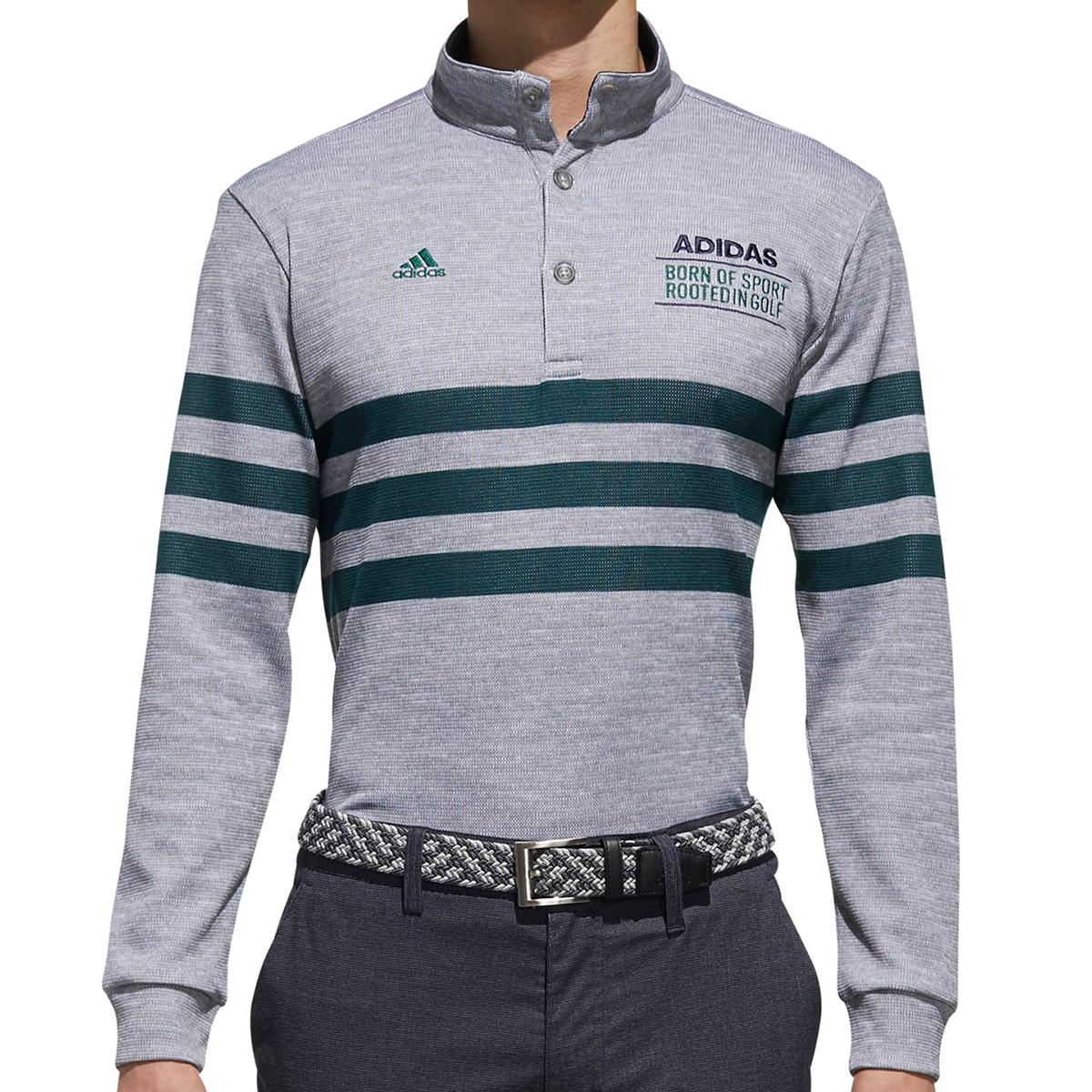 adicross 3ストライプ長袖 ボタンモックポロシャツ