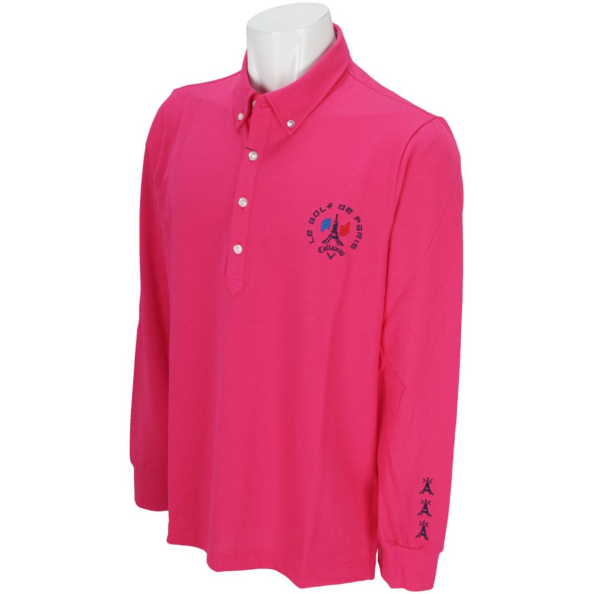 ストレッチ ファイン鹿の子ボタンダウンカラー長袖ポロシャツ