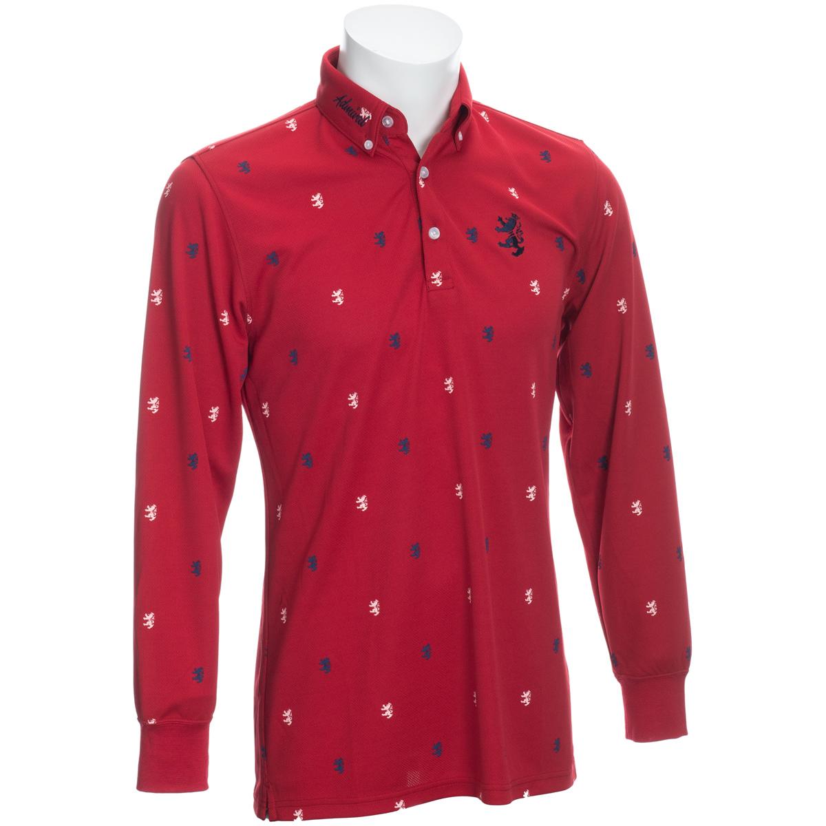 総柄ランパント 長袖ボタンダウンポロシャツ