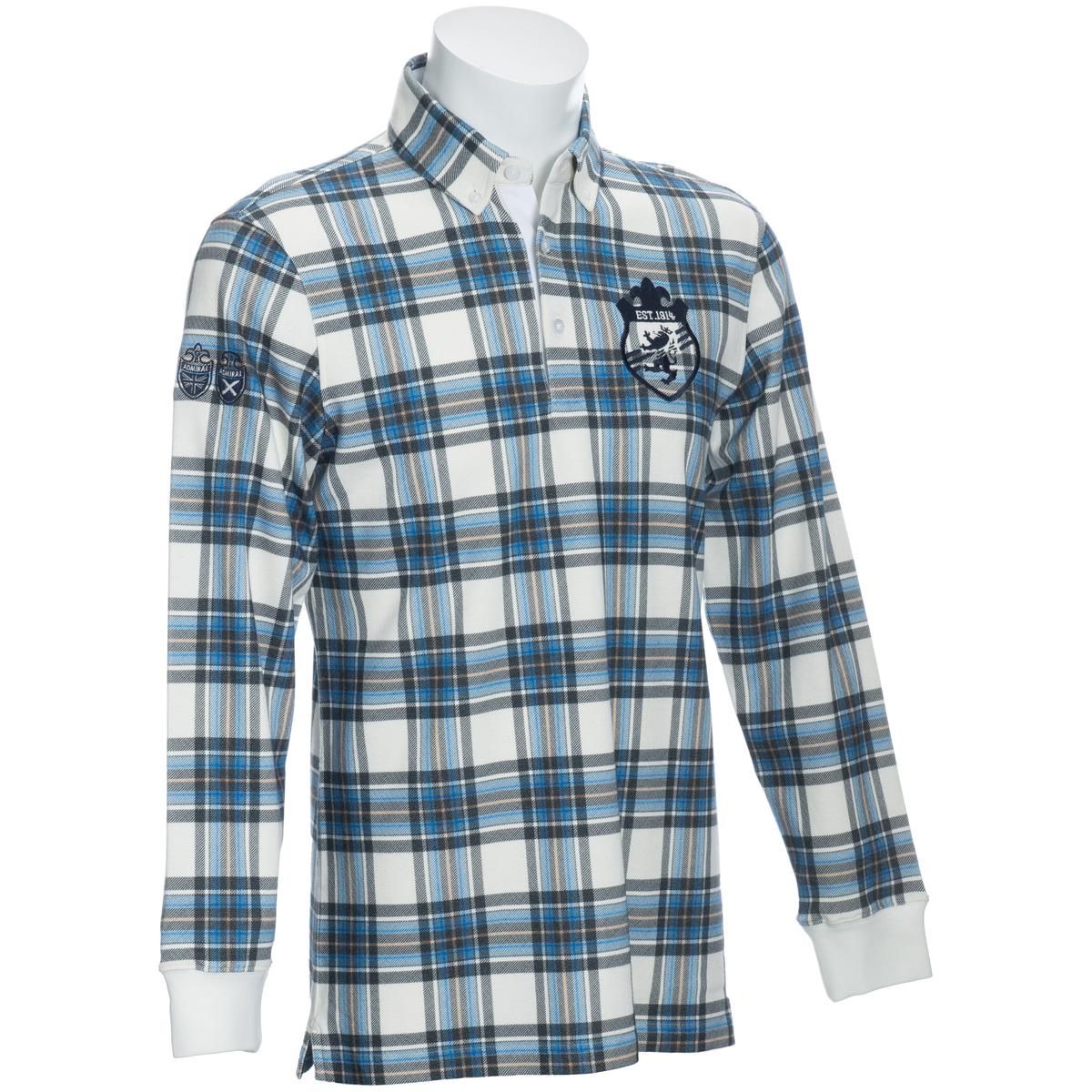 タータンチェック 長袖ボタンダウンポロシャツ