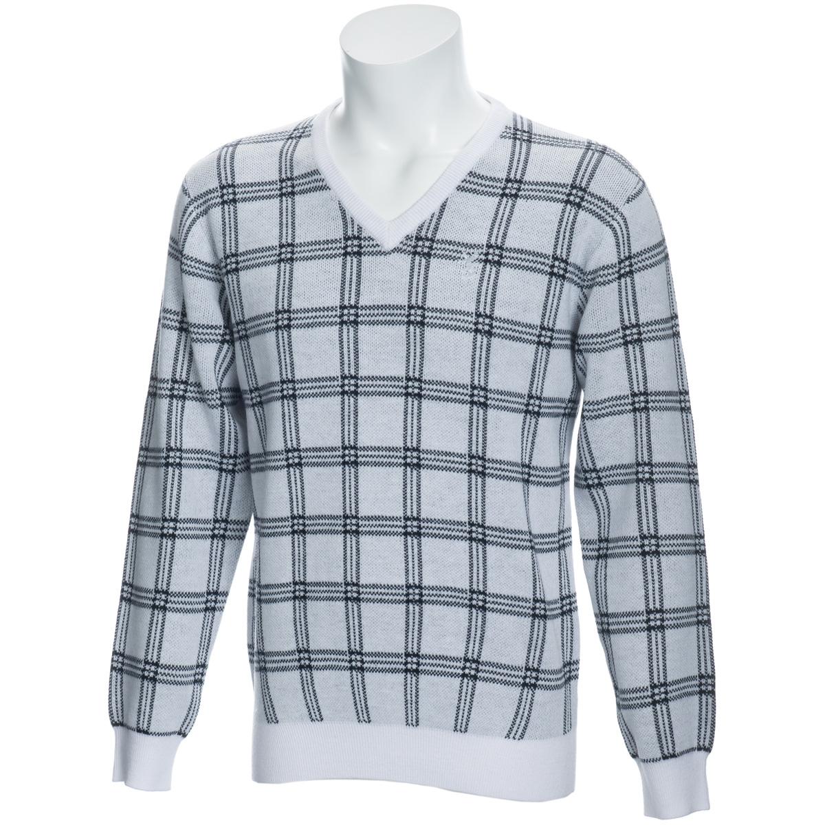 チェック Vネックセーター