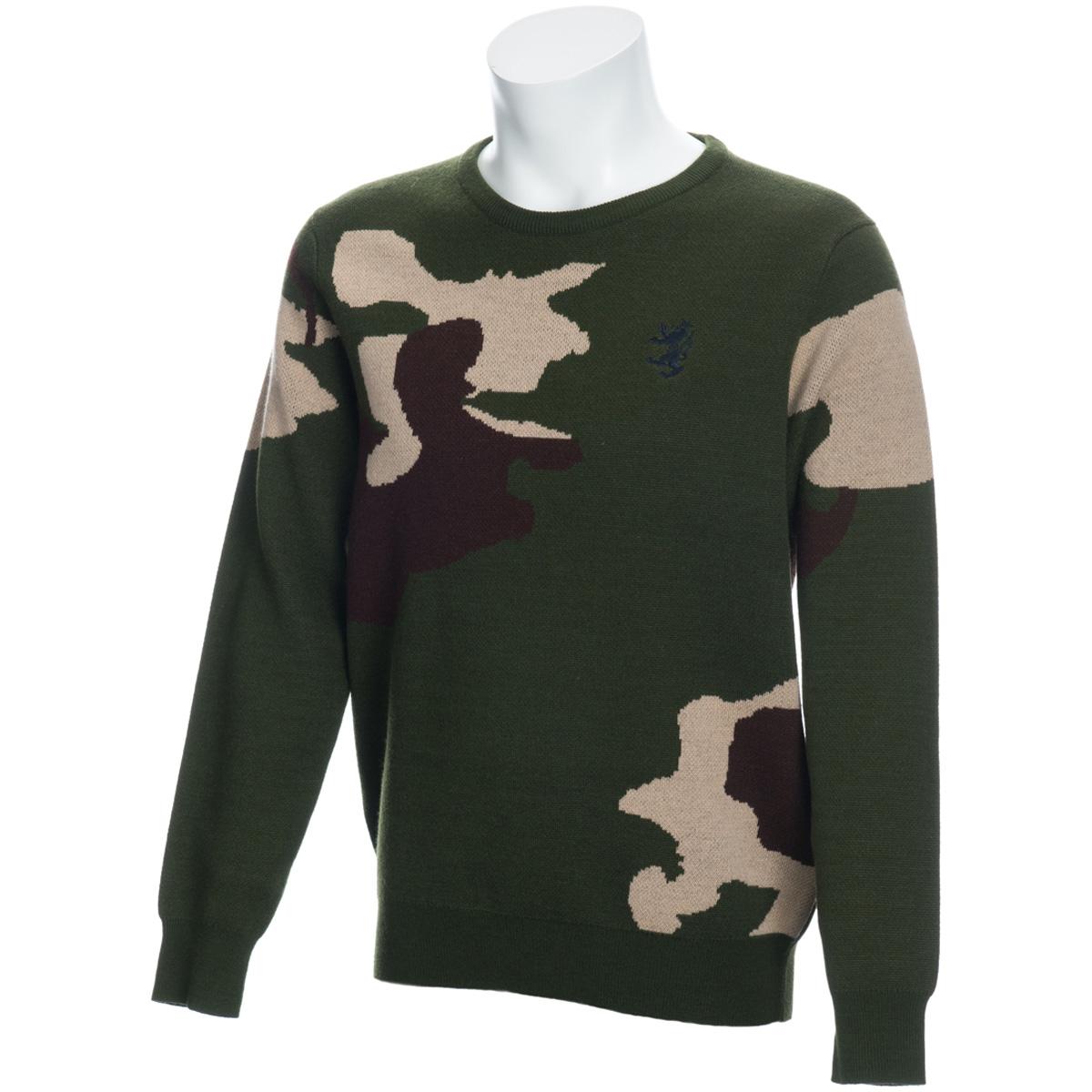 カモ柄 クルーネックセーター