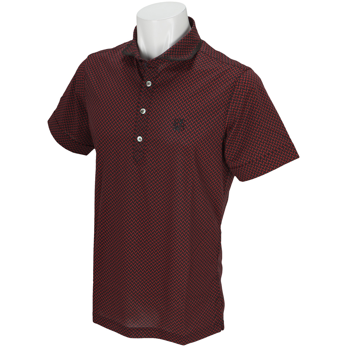 BlackLabel 半回縞幾何学柄ヘリンボーンプリント 半袖ポロシャツ