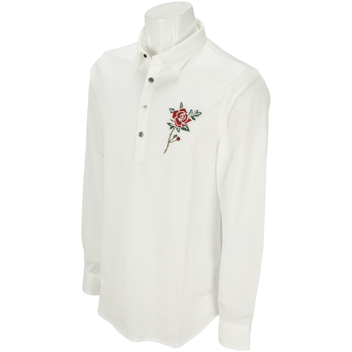 BlackLabel レンシル鹿の子薔薇刺繍 長袖ポロシャツ