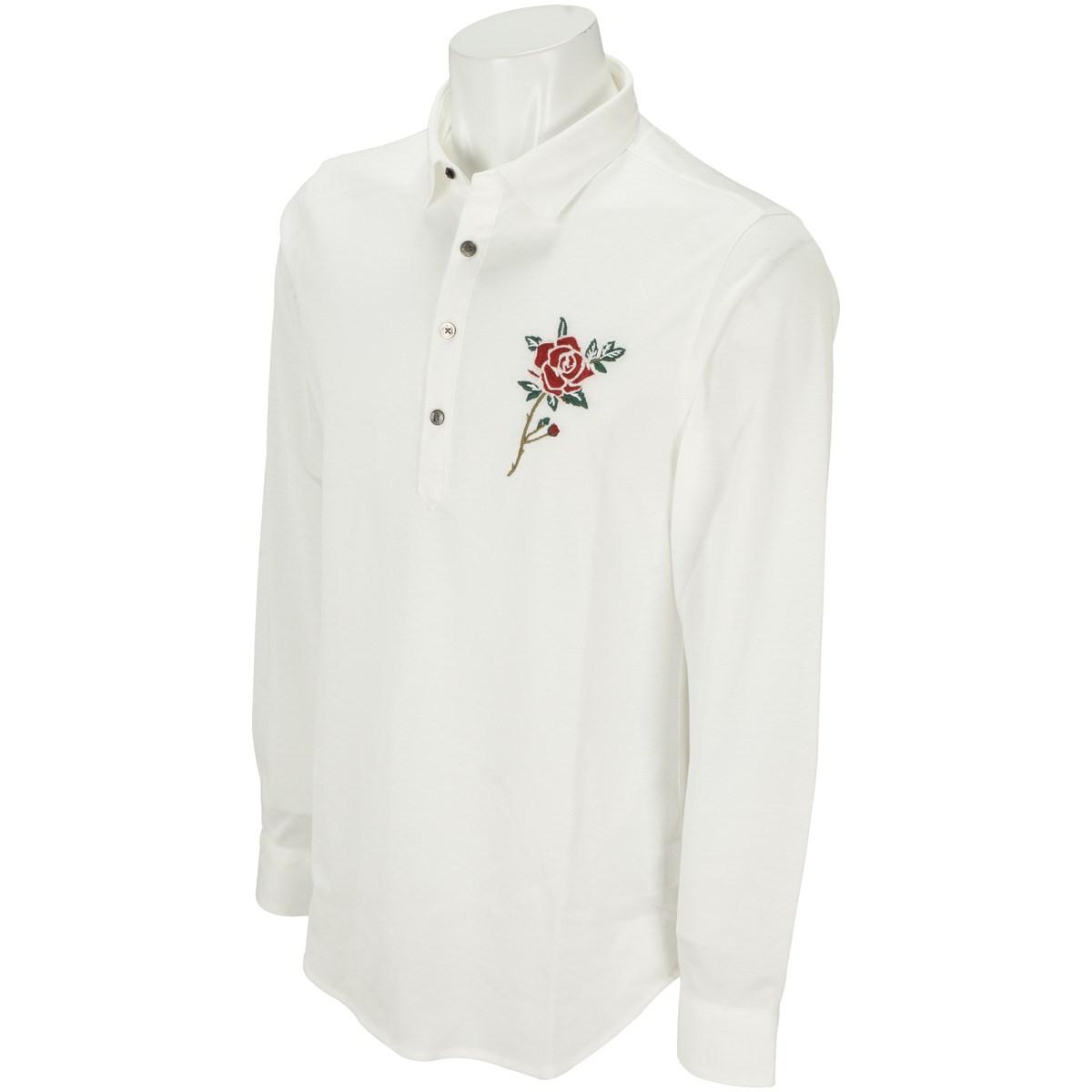 セント・アンドリュース BlackLabel レンシル鹿の子薔薇刺繍 長袖ポロシャツ