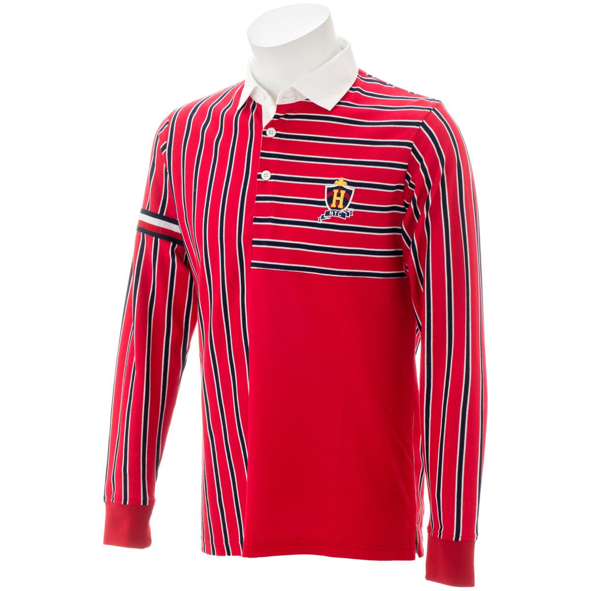ランダム ストライプ 長袖ポロシャツ