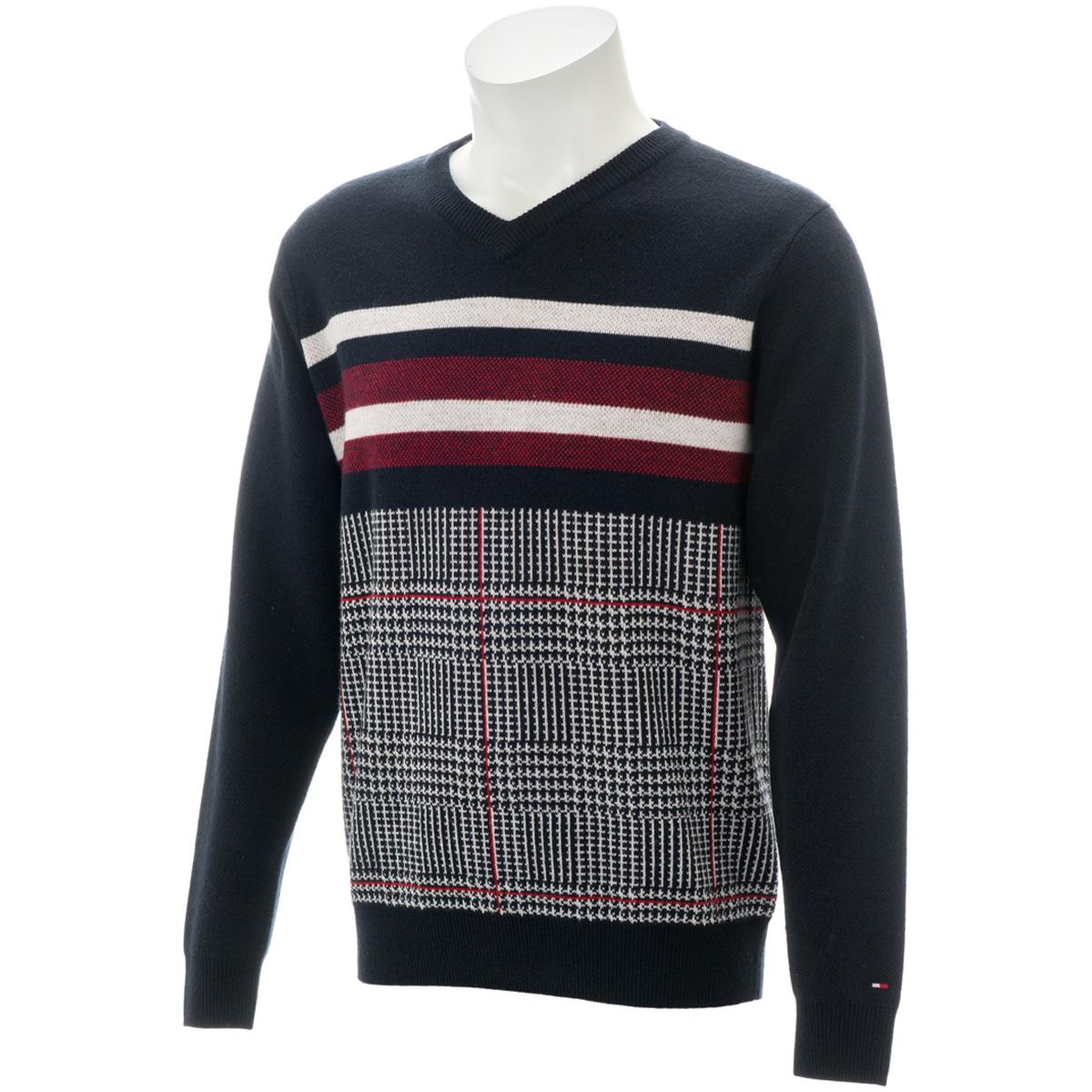 PIECED グレンチェック Vネックセーター
