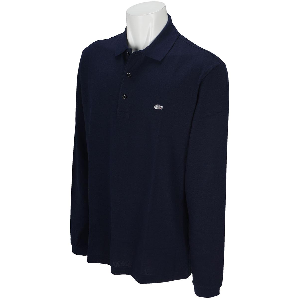 グレーワニ 3つボタン長袖ポロシャツ