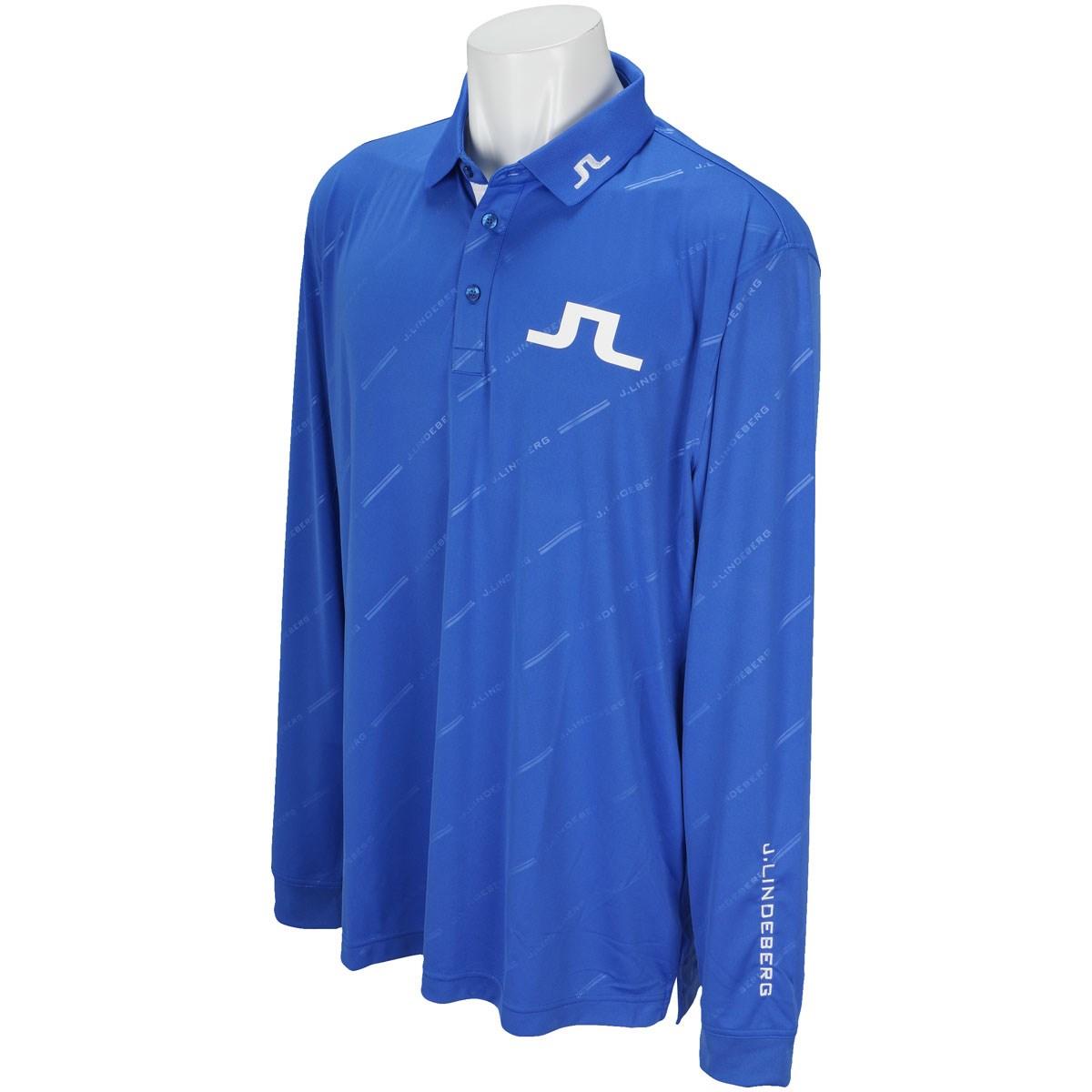 J.リンドバーグ J.LINDEBERG GDO限定 TOUR TECH REG TX Jersey +(Tonal debossed graphic on) 長袖ポロシャツ 50 ブルー