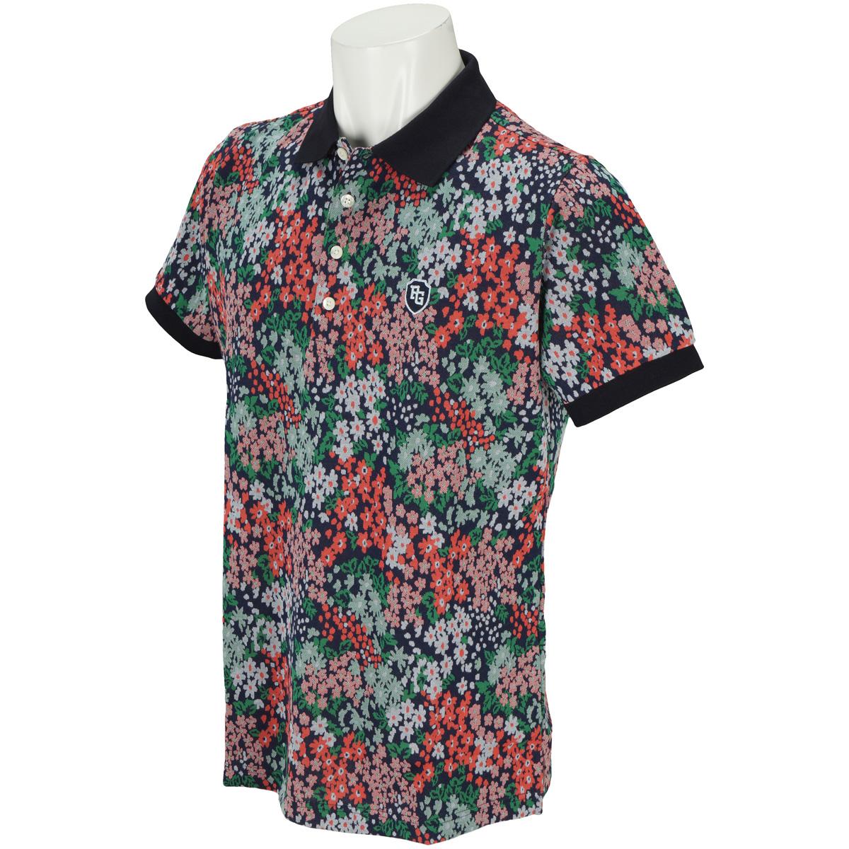 花柄ジャガードシルケット 半袖ポロシャツ