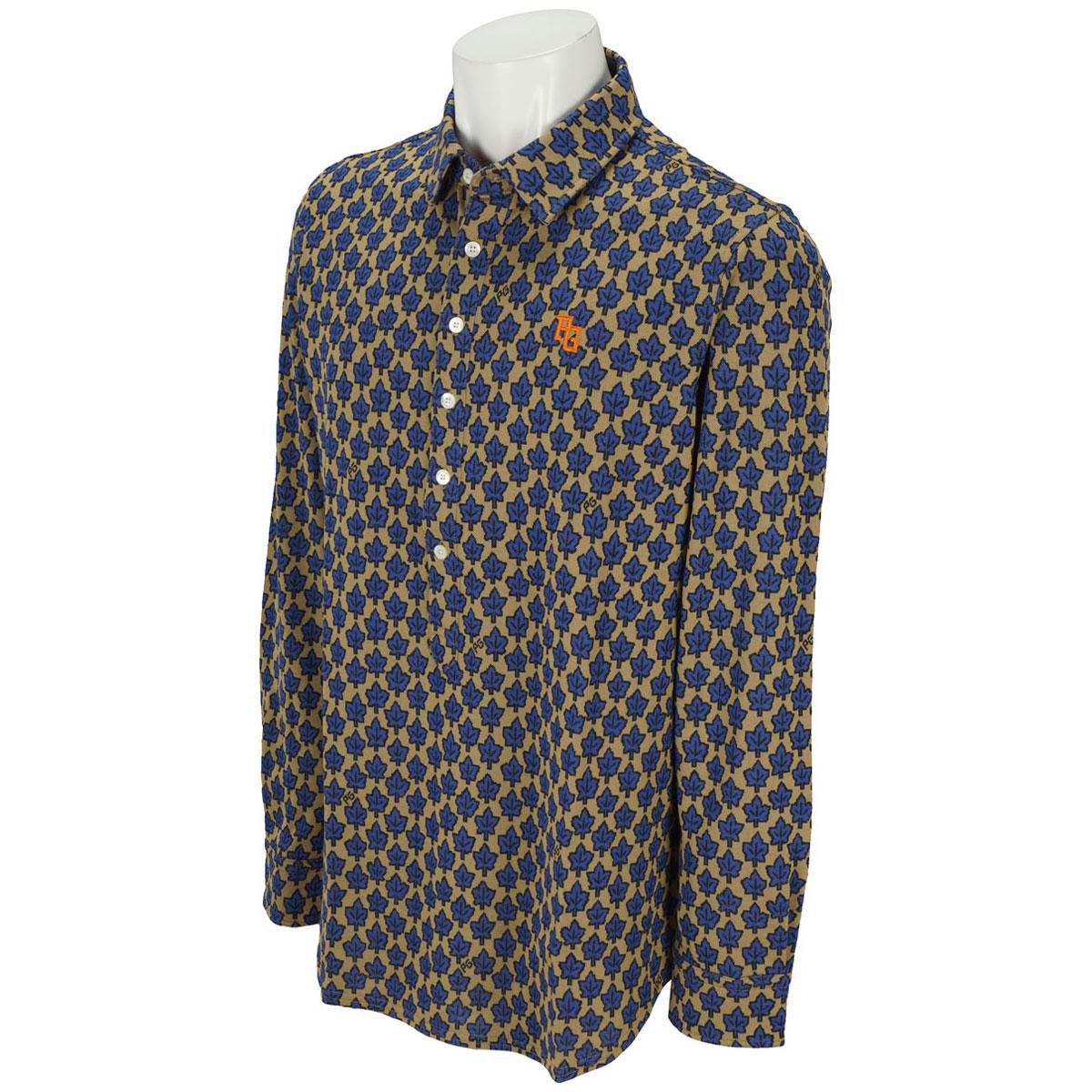 リーフ柄長袖ポロシャツ